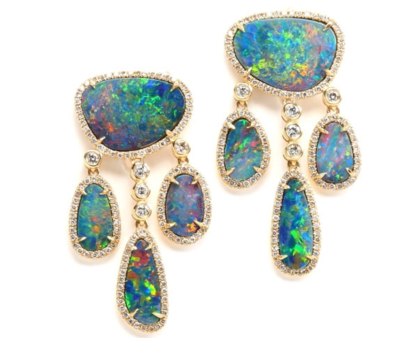 Rina Limor dangling opal doublet chandelier earrings