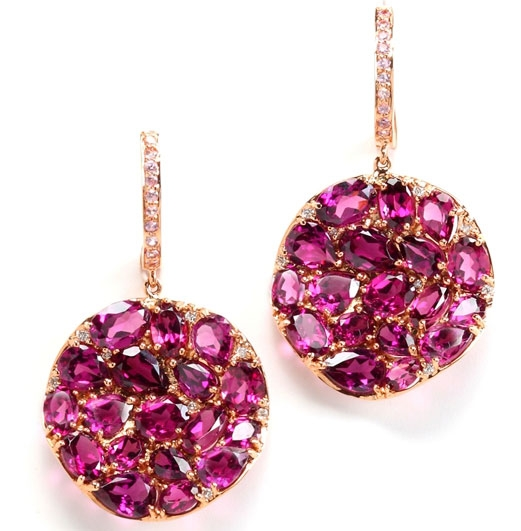 Rina Limor rhodolite garnet Petali earrings