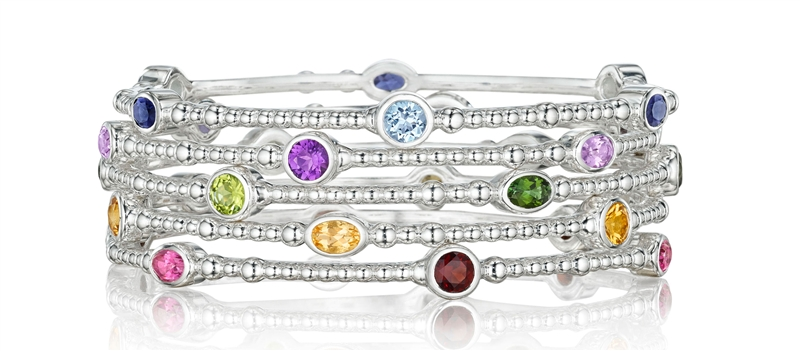 Thistle Bee Sparkler stacking bangle bracelets