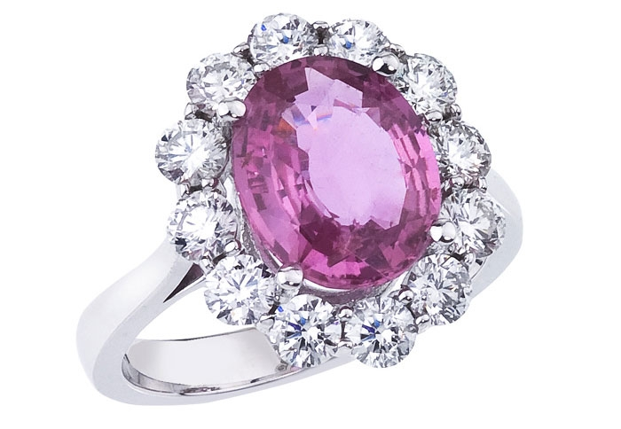 Steven Royce Designs pink sapphire and diamond ring