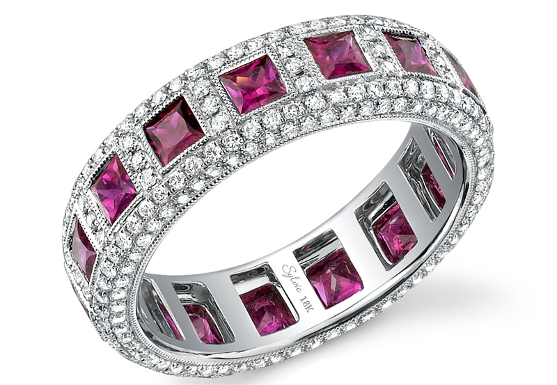 Sylvie Collection princess-cut ruby and diamond band