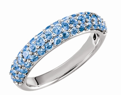 Stuller pave Swiss blue topaz band