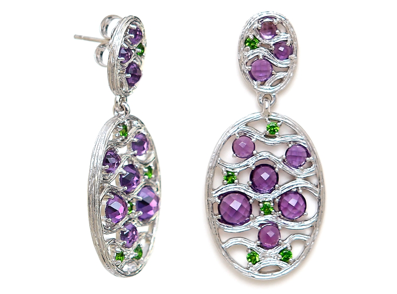 ARIVA amethyst and chrome diopside drop earrings
