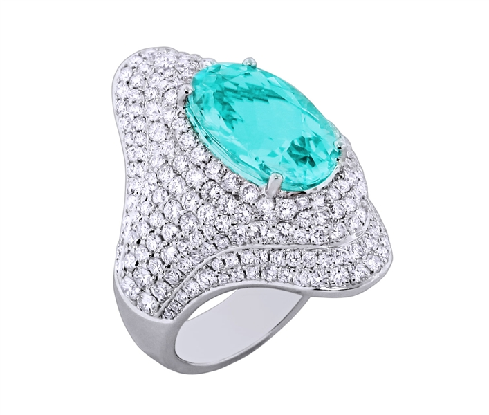 Spark Creations Paraiba and diamond cocktail ring