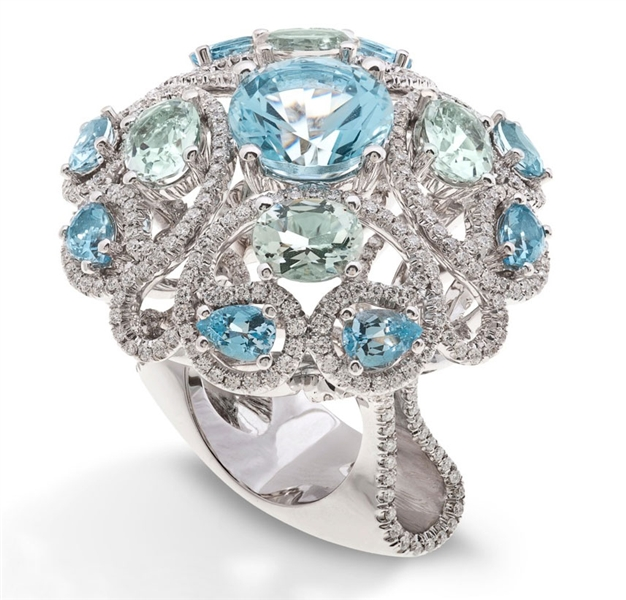 Orrana Sky Flower colored gemstone cocktail ring