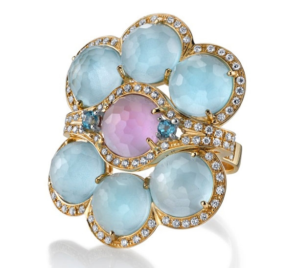 Vanna K Gelato blue topaz and amethyst ring
