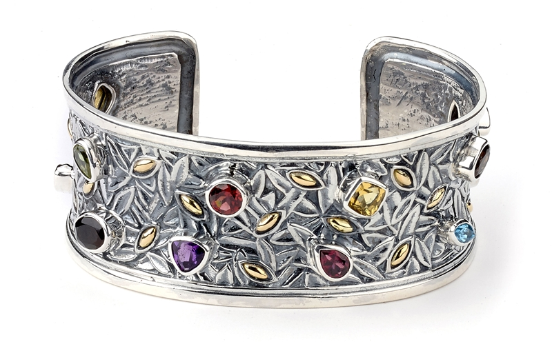 The Samuel B Collection Royal Bali multicolor gemstone cuff