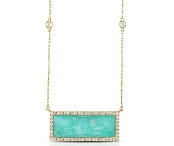 Doves amazonite and diamond bar necklace