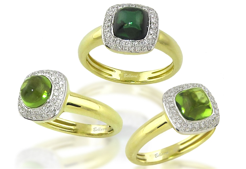 BELLARRI Napoli collection peridot and tourmaline cabochon rings