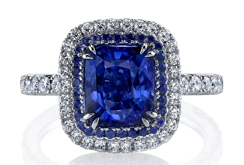 Omi Prive platinum cushion sapphire ring