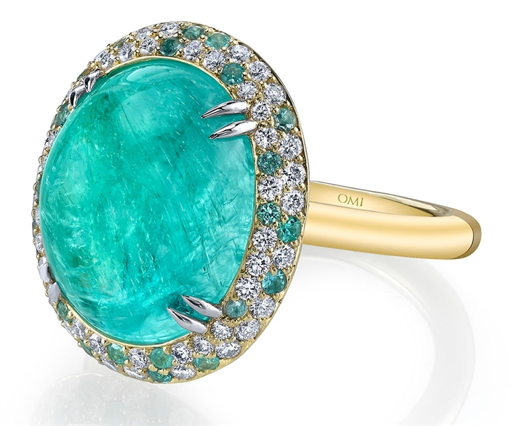 Omi Prive oval cabochon paraiba tourmaline ring
