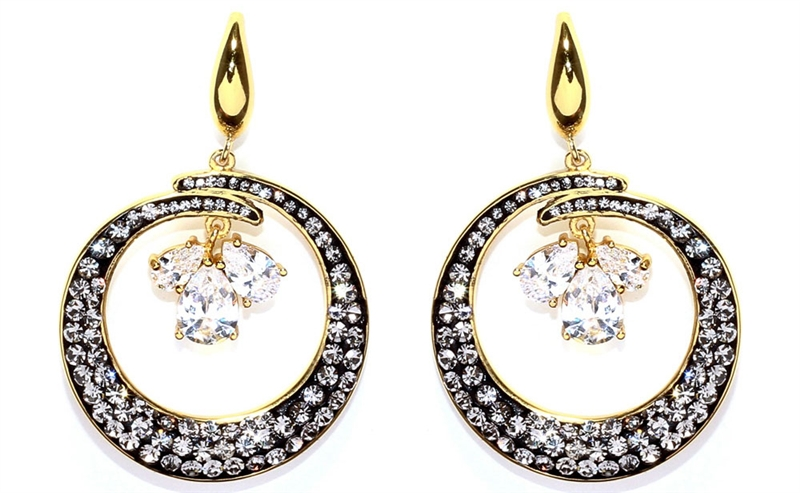 Athra Luxe circle drop earrings