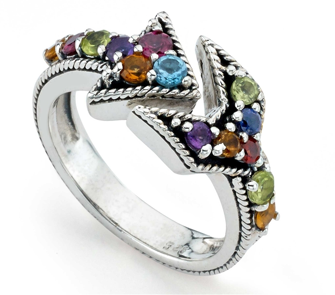 The Samuel B Collection Royal Bali multicolor gemstone arrow ring