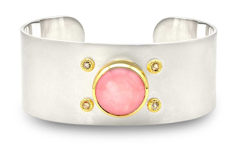 Kaura Jewels pink opal Shield cuff