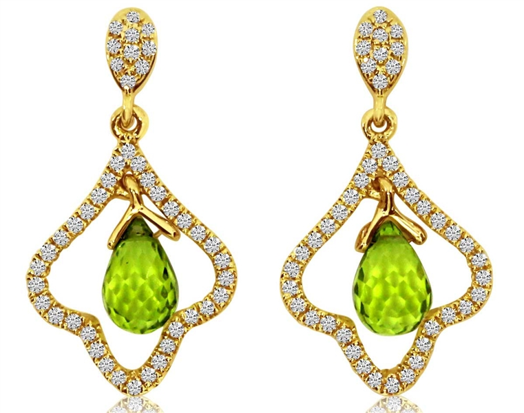 Color Merchants peridot briolette drop earrings