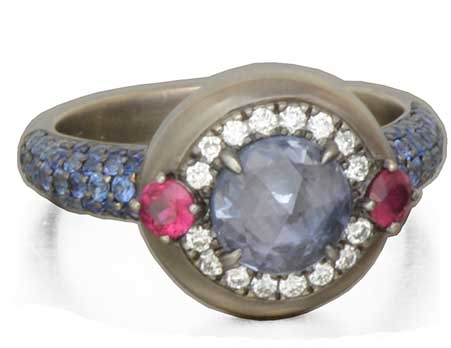 Danhier Galaxy rose-cut blue sapphire ring