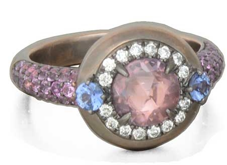 Danhier Galaxy rose-cut pink sapphire ring