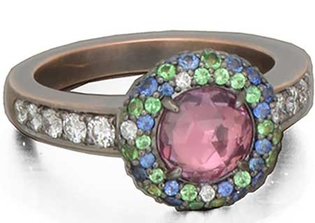 Danhier Supernova rose-cut pink sapphire ring