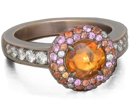 Danhier Supernova rose-cut orange sapphire ring