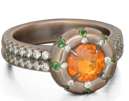 Danhier Pulsar rose-cut orange sapphire ring