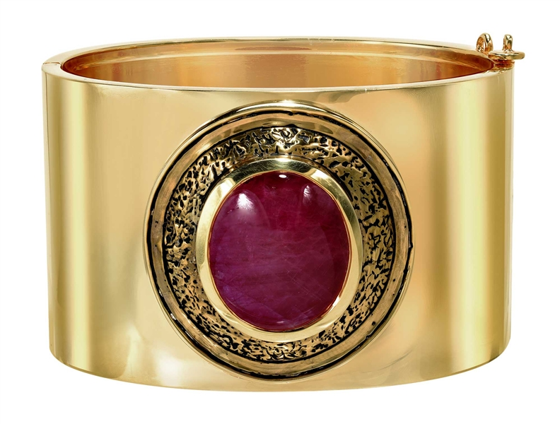 Kaura jewels ruby cabochon Shield cuff bracelet