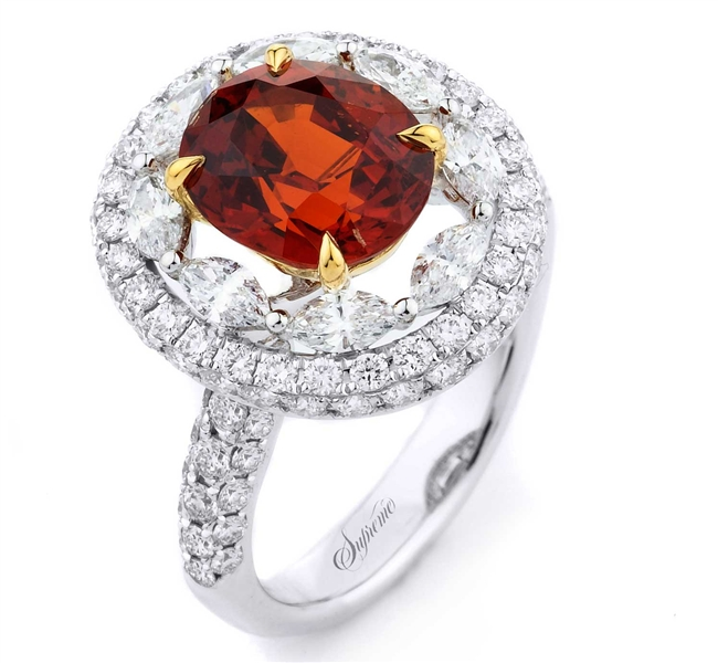 Supreme Jewelry orange sapphire oval ring