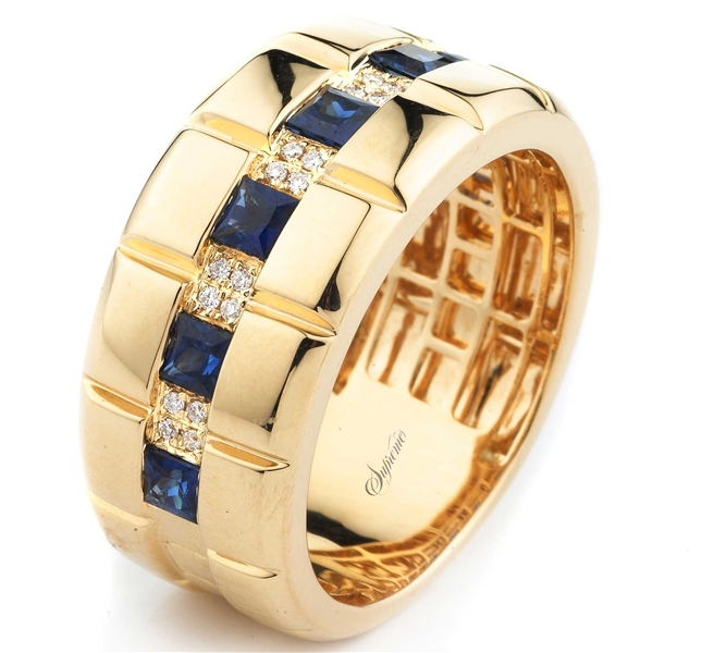 Supreme Jewelry princess-cut sapphire and diamond band