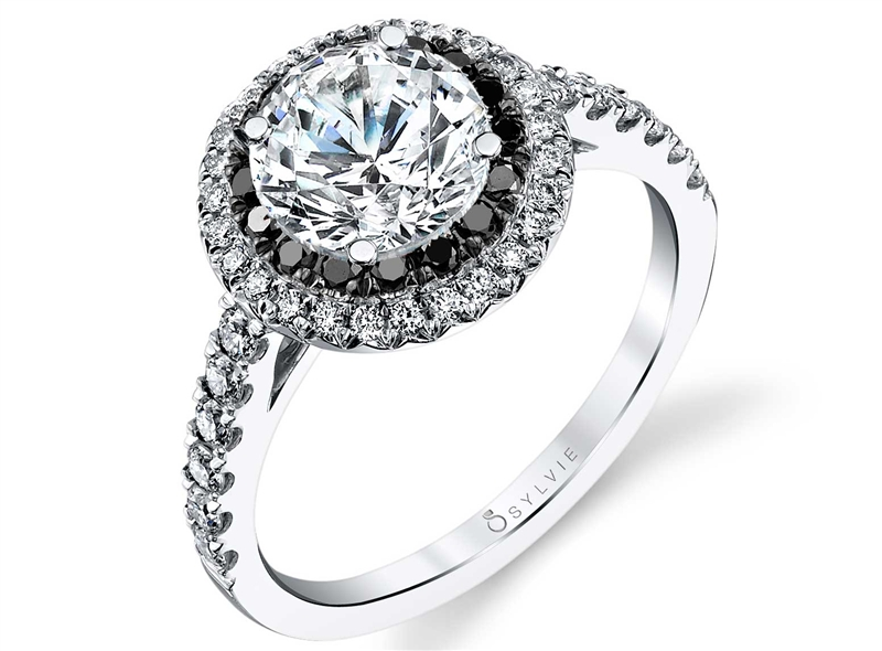 Sylvie Collection black diamond halo engagement ring