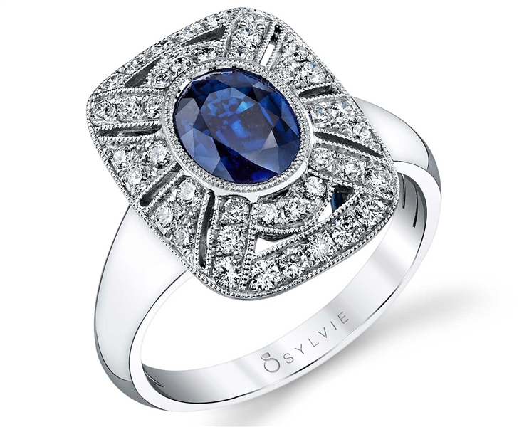 Sylvie Collection vintage-style sapphire ring