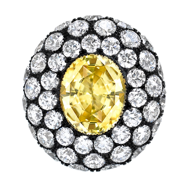 Tamir unheated yellow sapphire and diamond ring