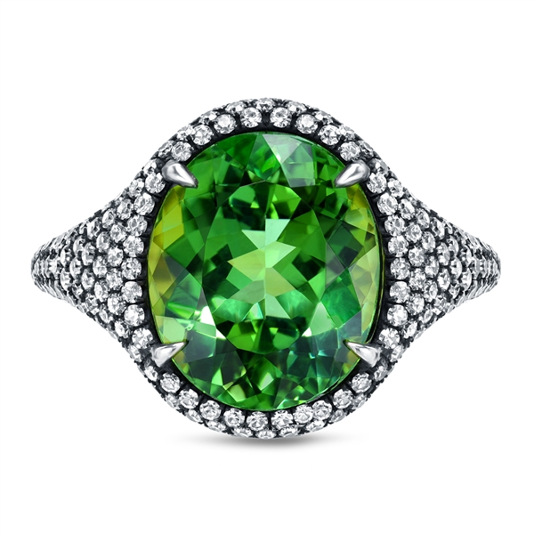 Tamir vibrant mint green tourmaline ring