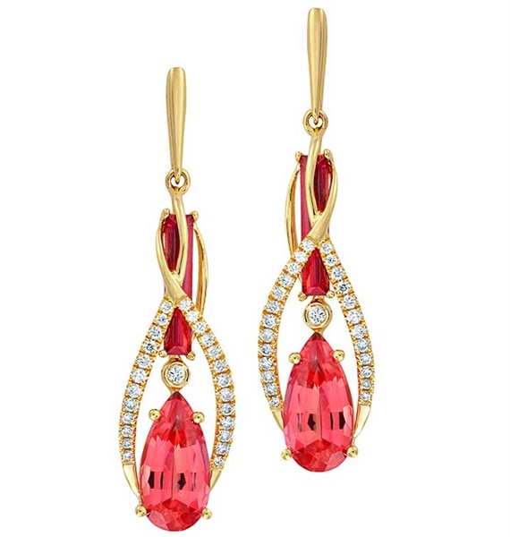Chatham Created Gems Sticks Stones created padparadscha earrings