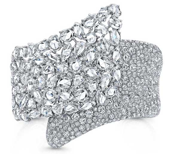 Rahaminov Diamonds rose cut and round diamond cuff
