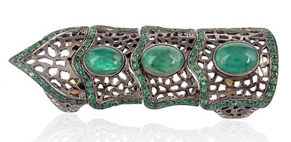 Gemco Designs new vintage emerald finger ring