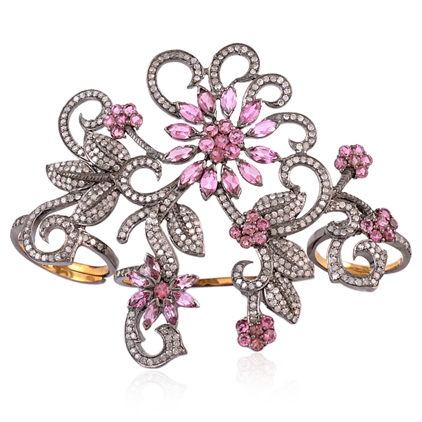 Gemco Designs floral pink tourmaline multi-finger ring