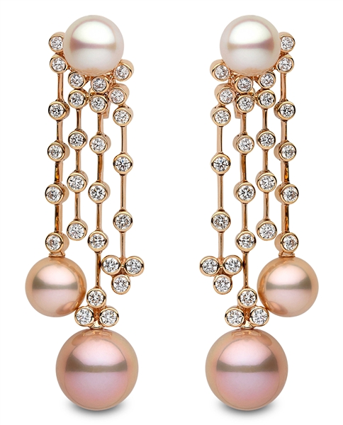 Yoko London pearl and diamond chandelier earrings