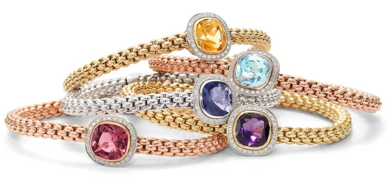 Fope gemstone flexible stacking bracelets