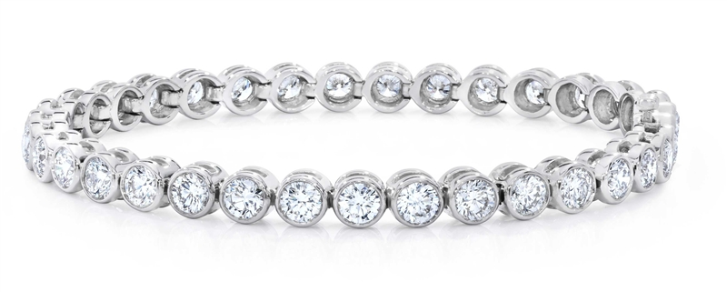 Gem Platinum bezel set diamond tennis bracelet