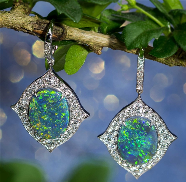 Gem Platinum black opal and diamond drop earrings