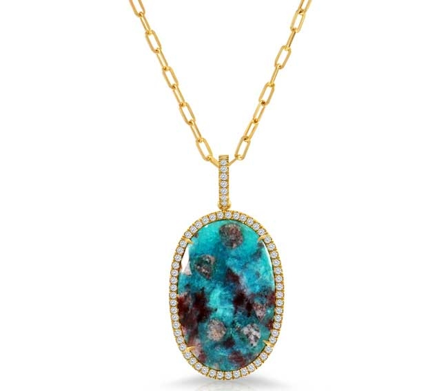 Rahaminov Diamonds paraiba slice pendant