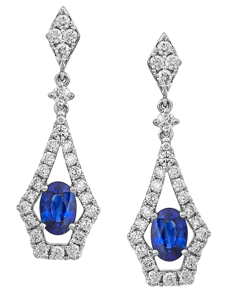 Akiva Gil diamond-framed sapphire drop earrings