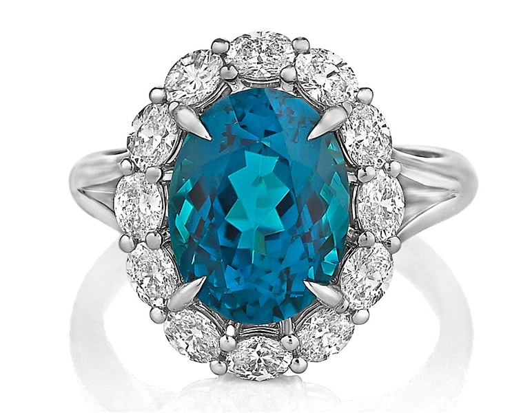 Akiva Gil indicolite tourmaline and diamond entourage ring