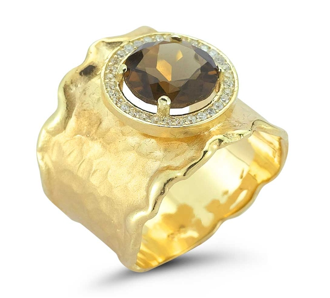 I. Reiss smoky topaz hammered ring