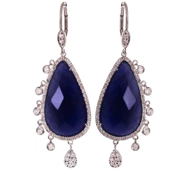 Meira T blue sapphire and diamond charm earrings