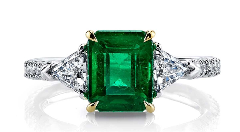 Omi Prive platinum emerald and diamond ring