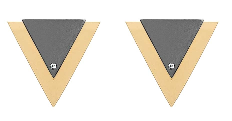 Jack Vartanian two tone Edgy front and back earrings