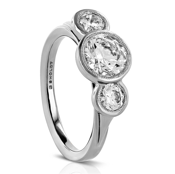 Sholdt three-stone Rainier engagement ring