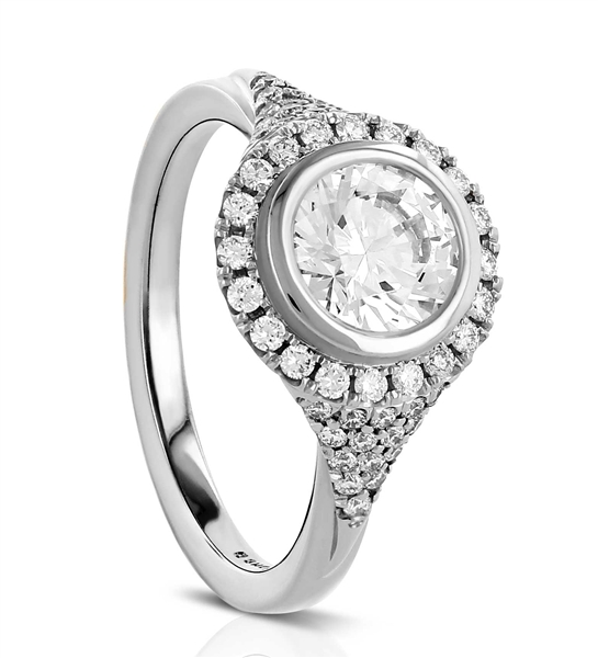 Sholdt bezel pave halo diamond engagement ring