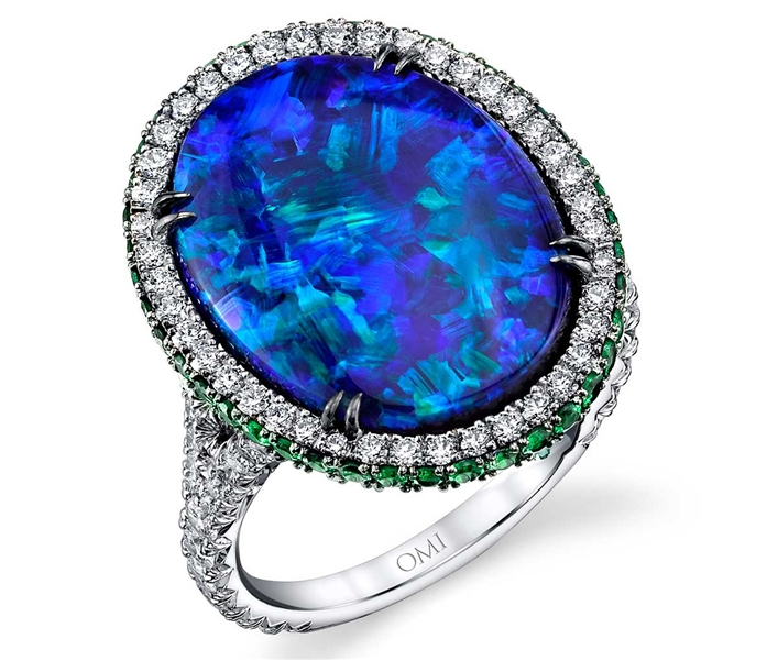 Omi Prive black opal ring with diamond halo