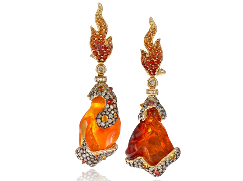 Italian Design Jewellery fire opal reversible Lava earrings